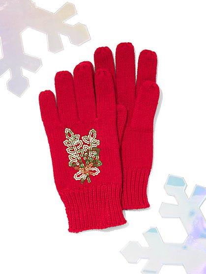 Sequin Mistletoe Gloves - New York & Company