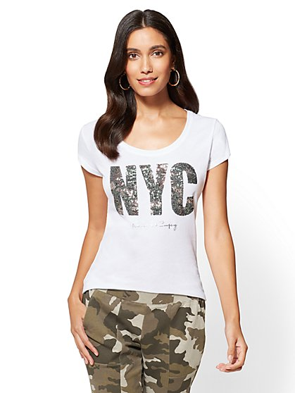 "Sequin ""NYC"" Graphic Logo Tee - New York & Company"