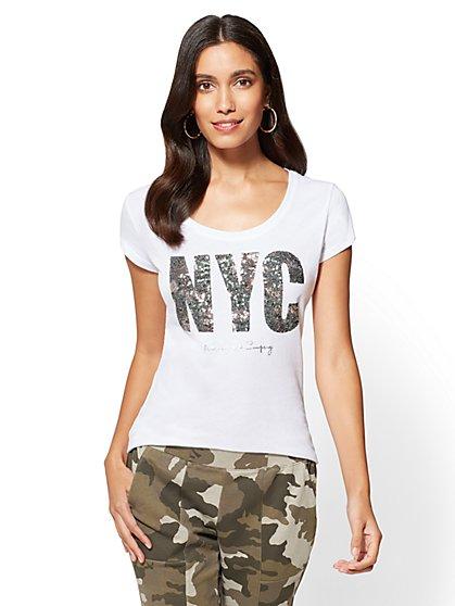 "Sequin ""NYC"" Graphic Logo Tee - New York & Company"