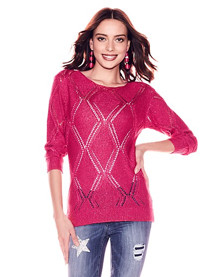 Sequin Pointelle-Knit Sweater - New York & Company