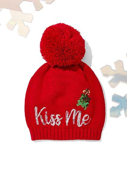 "Sequin & Pom-Pom ""Kiss Me"" Hat - New York & Company"