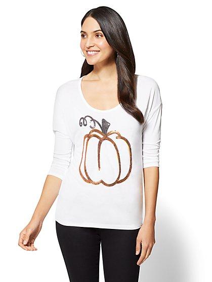 Sequin Pumpkin Graphic Logo Tee - New York & Company
