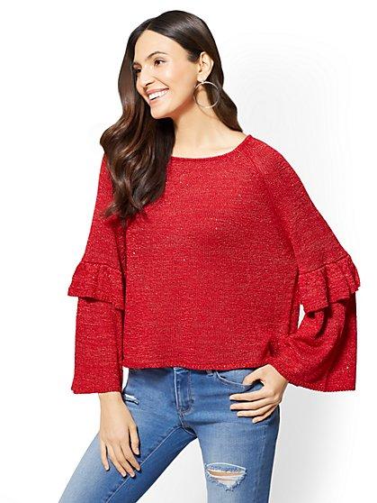 Sequin Ruffle-Sleeve Sweater - New York & Company