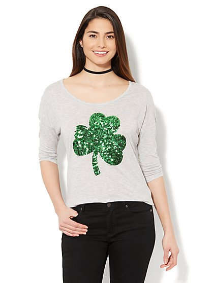Sequin Shamrock Graphic Logo Tee - New York & Company