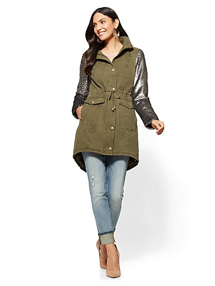 Sequin-Sleeve Anorak Jacket - New York & Company