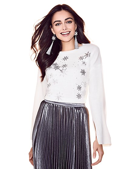 Sequin Snowflake Sweater - Ivory - New York & Company