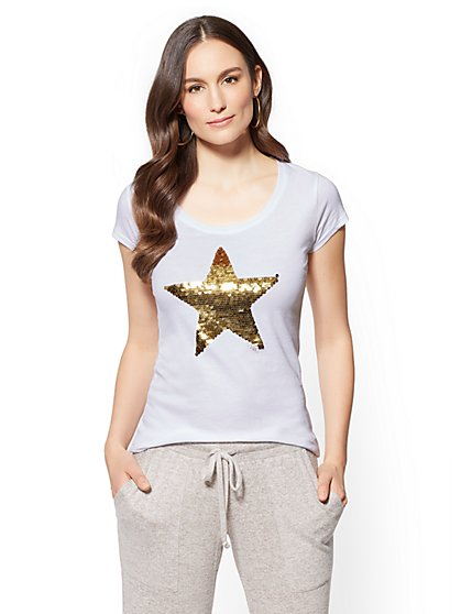 Sequin Star Graphic Logo Tee - New York & Company