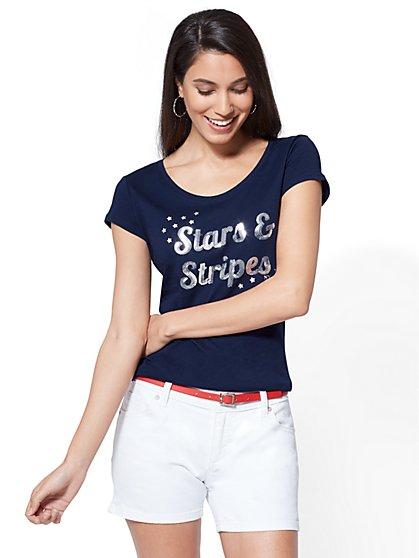 "Sequin ""Stars & Stripes"" Graphic Logo Tee - New York & Company"