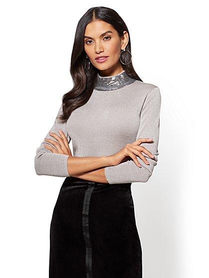 Sequin Turtleneck Sweater - New York & Company