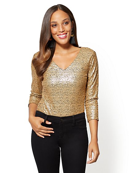 Sequin V-Neck Bodysuit - New York & Company