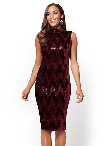 Sequin Velvet Shift Dress - New York & Company