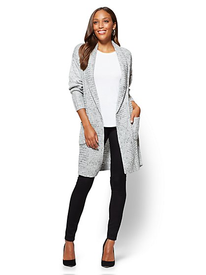 Shawl-Collar Duster Cardigan - Marled Knit - New York & Company