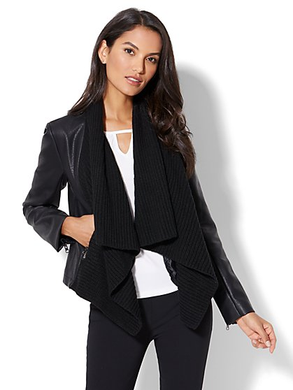 Shawl-Collar Faux-Leather Jacket  - New York & Company