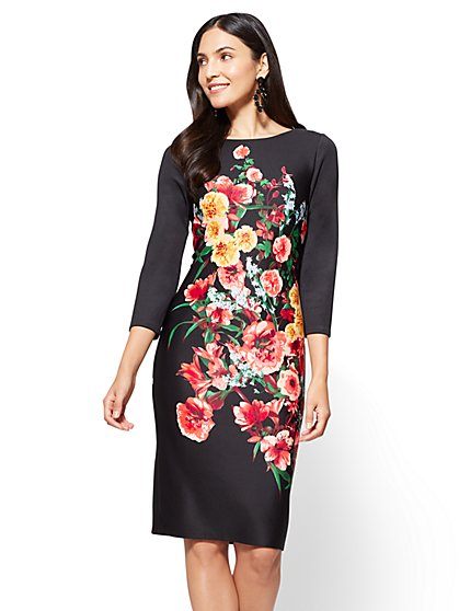 Sheath Dress - Black - Floral - Petite - New York & Company