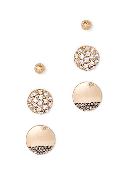 Shimmering 3-Piece Post Earring Set  - New York & Company