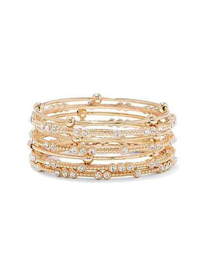 Shimmering Faux-Stone Bangle Bracelet Set  - New York & Company