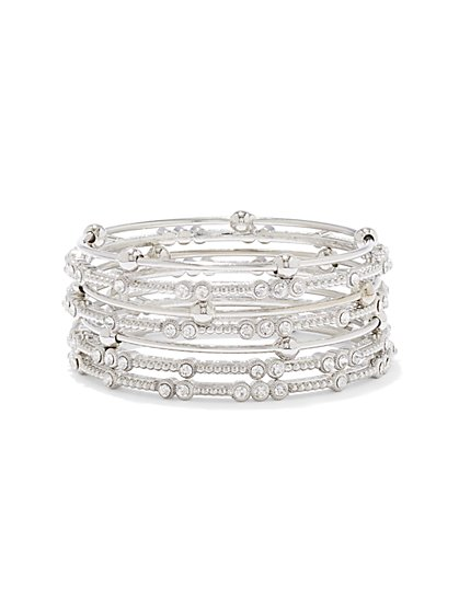 Shimmering Faux-Stone Bangle Bracelet Set  - New York & Company