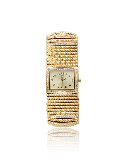 Shimmering Stretch Bracelet Watch - New York & Company