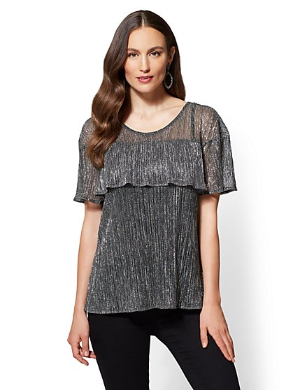 Shimmering Tiered Blouse - New York & Company