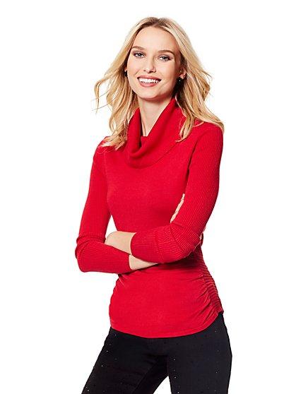 Shirred Cowl-Neck Sweater - New York & Company