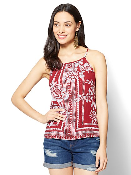 Shirred Halter Blouse - Print - New York & Company