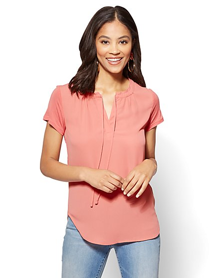 Shirred Tie-Front Blouse - New York & Company