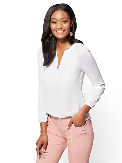 Shirred V-Neck Top  - New York & Company