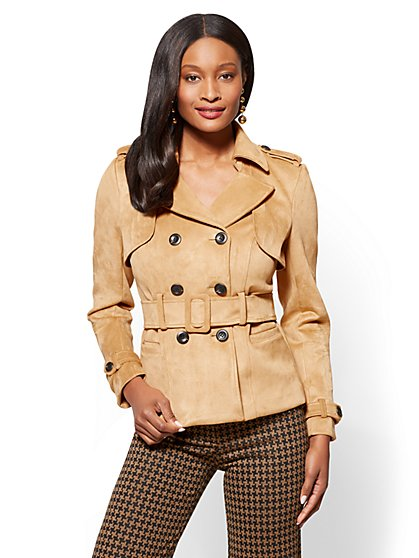 Short Faux-Suede Trench Coat - Camel - New York & Company