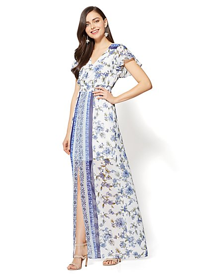 Short-Sleeve Maxi Dress - Border & Floral Print - New York & Company