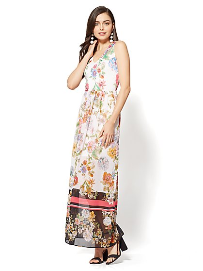 Short-Sleeve Maxi Dress - Pink Floral - New York & Company