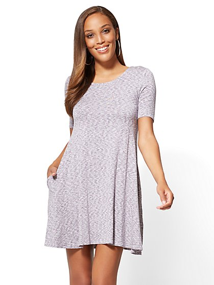 Short-Sleeve Swing Dress - Space Dye - New York & Company