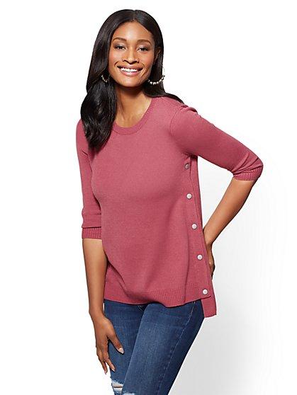 Side-Snap Hi-Lo Crewneck Sweater - Space-Dye - New York & Company