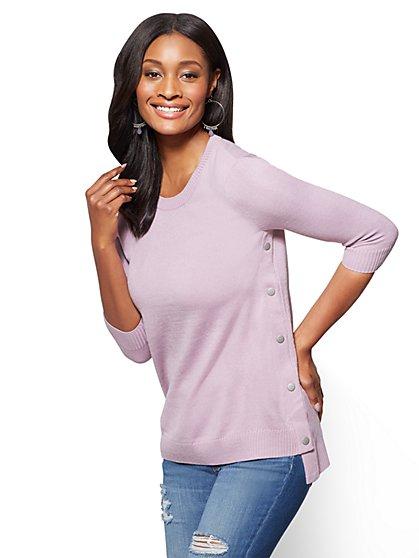 Side-Snap Hi-Lo Crewneck Sweater - New York & Company