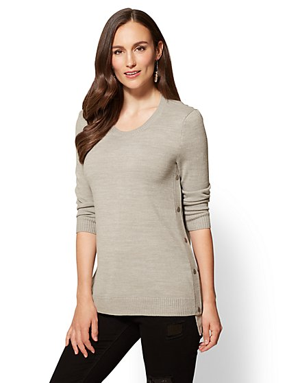 Side-Snap Hi-Lo Tunic Sweater - Space-Dye - New York & Company
