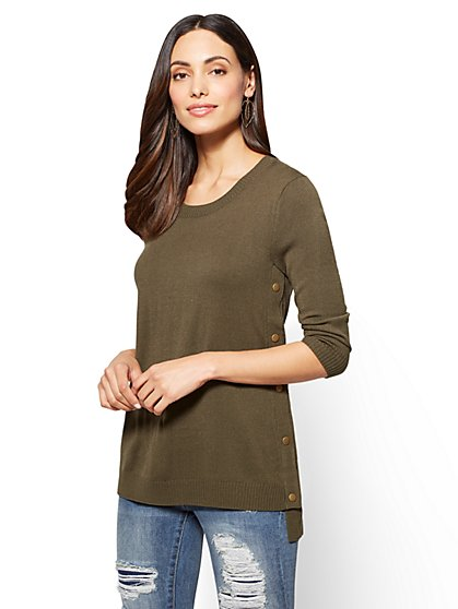 Side-Snap Hi-Lo Tunic Sweater - New York & Company
