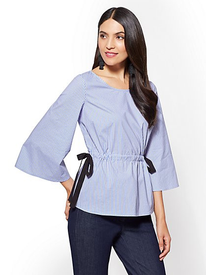 Side-Tie Kimono-Sleeve Popover Shirt - Stripe - New York & Company