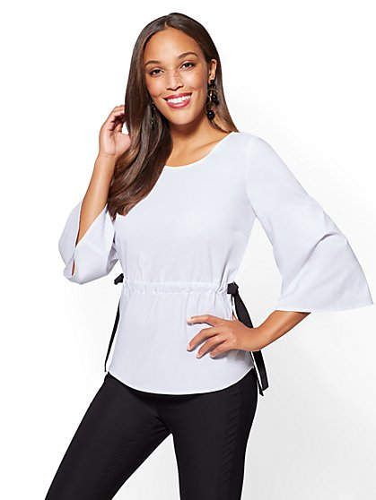 Side-Tie Kimono-Sleeve Popover Shirt - White - New York & Company