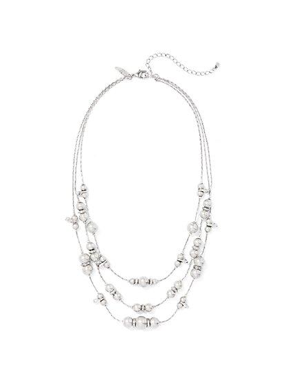 Silvertone 3-Row Beaded Necklace  - New York & Company