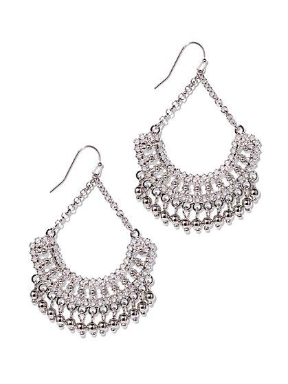 Silvertone Beaded Drop Earring  - New York & Company