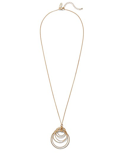 Silvertone Circular Pendant Necklace  - New York & Company
