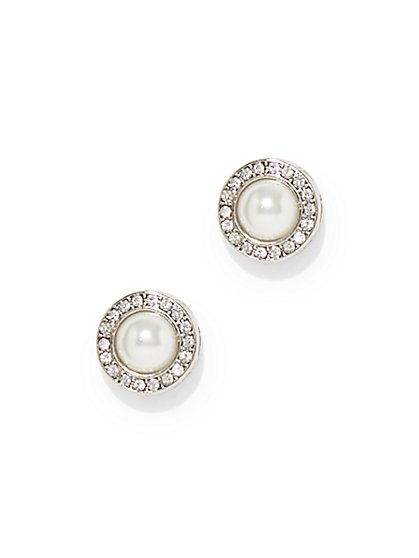 Silvertone Faux-Pearl Drop Earring  - New York & Company