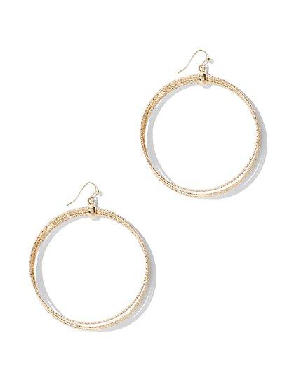 Silvertone Hoop Drop Earring  - New York & Company