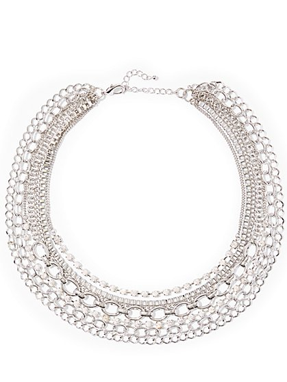 Silvertone Layered Chain-Link Necklace  - New York & Company
