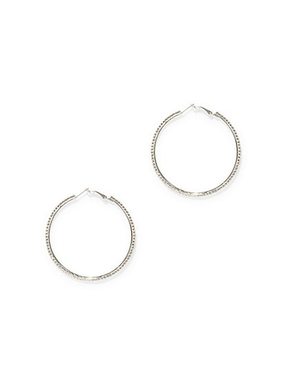 Silvertone Pave Hoop Earring  - New York & Company