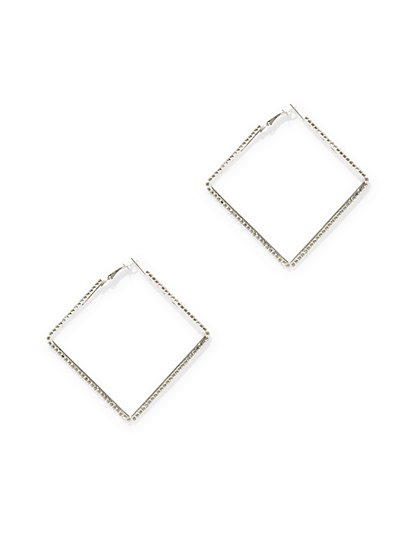 Silvertone Pave Square Hoop Earring  - New York & Company