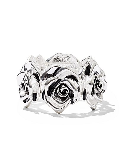 Silvertone Rose Stretch Bracelet - New York & Company