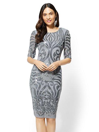 Silvertone Sequin Sheath Dress - New York & Company