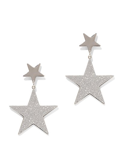 Silvertone Star Drop Earring - New York & Company