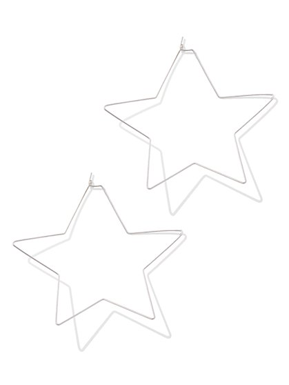 Silvertone Star Hoop Earring - New York & Company