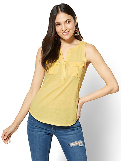Sleeveless Henley Two-Pocket Top - New York & Company